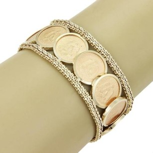 Other Vintage 22kt 14kt Ygold Mexico Coins Basket Weave Design Wide Bracelet