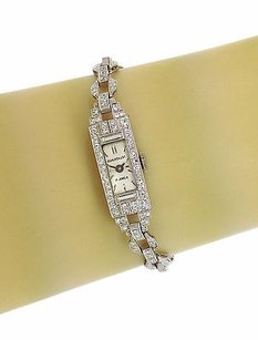 Vintage Art Deco Solid Platinum 2.3ct Diamond Ladies Wind Up Wrist Watch