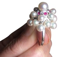 Other vintage Finest Estate 14k 1940's genuine sea pearl rubies ring AAA+