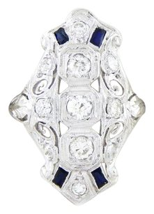 Vintage French Cut Sapphires VS-1 Diamonds Platinum Ring