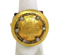 Vintage Hand Made Silver 24k Gold Coin Diamonds Rubies Ring 7.75
