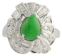Vintage Jadeite Diamond Cocktail Ring - 14k White Gold Genuine 1.62ctw