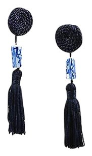 Vintage Navy Blue White Ceramic Rope Beaded Fringe Tassel Clip On Earrings