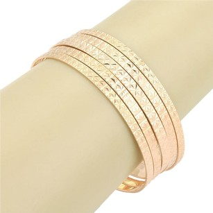 Other Vintage Set Of Hand Engraved Floral Design Bangles 7.5 In 18k Rose Gold