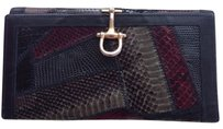 Varon Vtg Black Snakeskin Leather Wallet Clutch Gold Clasp Rare