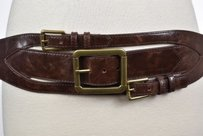 Wcm Womens Brown Textured Wide Belt Lxl Casual Leather