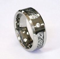 Amz 8mm Silver Celtic Dragon Zirconia Tungsten Carbide Men Jewelry Wedding Band