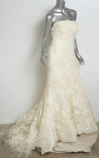 Vera Wang Luxe Ivory Hilary Lace Strapless Mermaid Wedding Gown Dressveil