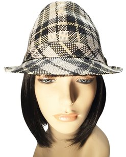 Original Penguin by Munsingwear White, Black & Pale Yellow Straw Fedora by Penguin [ HeavenlyHats ]