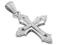 White Gold Finish Gothic-style Pave Diamond Cross 1.75 Pendant Charm 14ct.