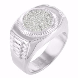 White Gold Tone Ring Simulated Lab Diamonds 316 Real Stainless Steel Mens Classy