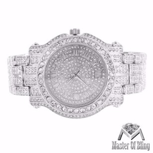 White Gold Tone Watch Iced Out Simulated Diamonds Roman Numeral Dial Steel Back
