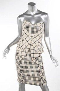 Other Nathan Jenden Black White Plaid Strapless Peplum Ruffle Bustle Pencil Dress