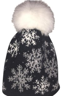 Winter Angora Hat With Arctic Fox Pom, New, One Size