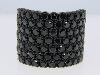Mens 7 Row Black Diamonds Pave 20 Mm Band Ring 7.73 Ct