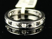 14k White Gold Black Diamond Wedding Band Ring 1.00 Ct