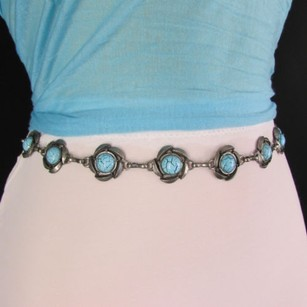 Women Antique Silver Metal Fashion Belt Turquoise Blue Flowers Hip Waist