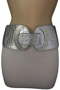 Women Fashion Silver Wide Belt Hip Elastic High Waist Rhinestone 28-33