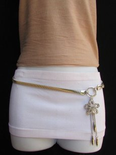 Women High Waist Hip Silver Stretch Metal Fashion Belt Flower 28-40