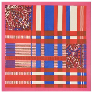 Women's Extra Large Square Silk Scarf, Silk Twill - Pink Blue Check Plaid Stripe Paisley Print 40