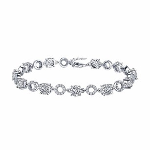 Womens Bracelet Solitaire White Gold Over .925 Silver Simulated Diamond