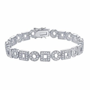 Womens Bracelet Square Round Link White .925 Silver Simulated Diamond