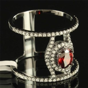 Womens Cocktail Ring Simulated Ruby Solitaire 925 Silver Spiral Hamsa Eye Band