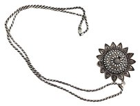 Womens Sterling Silver Sun Pendant Necklace 30 Sterling Rope Chain 32.5grams