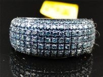 Womens White Gold Finish Round Cut Black Diamond Pave Designer Pinky Band Ring
