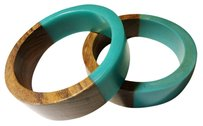 Wood and Turquoise Resin Bangles Set of 2