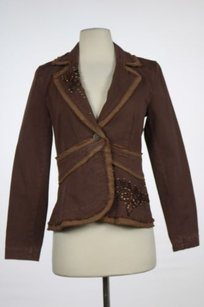 Y Morissey Womens Brown Floral Blazer Cotton Casual Jacket Long Sleeve