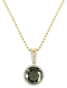 Yellow Gold Finish Over Silver Mens Rick Ross Black Onyx Solitaire Pendant Chain