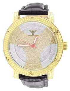 Yellow Gold Finish Soccer Ball Dial Canary White Iced Dial Leather Band Watch