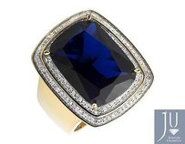 Yellow Gold Finished Blue Gemstone Genuine Diamond Statement Pinky Ring 0.40ct