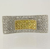 Yellow White Cz Cocktail Ring Sterling Silver 925 Statement Womens