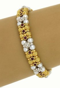 Zancar 18ktwo Tone Gold 2.42ct Diamonds Rubies Pearl Beaded Designer Bracelet