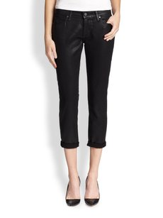Paige Denim Coated Crop Silk Capri/Cropped Denim-Coated