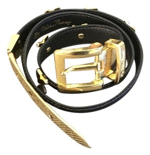 Paloma Picasso Paloma Picasso Black Patent Leather & Gold Belt