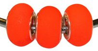 PANDORA like 925 Stamped core 3 Pieces FROST ORANGE STERLING SILVER ACRYLIC BEADS