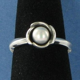 PANDORA Pandora 190607gp My Wish Ring Grey Pearl Sterling Silver 7.25