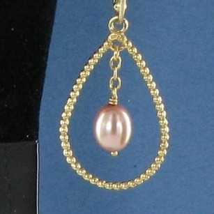 PANDORA Pandora 250408pw Watermelon Pink Pearl Drop Earrings 14k Y Gold No Post Retired