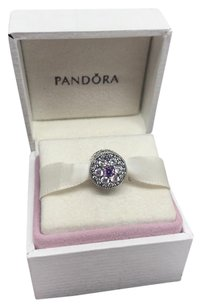 PANDORA Pandora forget me not purple & clear cz charm in original gift pouch