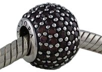 PANDORA Pandora 925 Silver Pave Lights Brown Ball Bead Charm 791051bcz