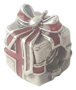 PANDORA Pandora Red Present Charm As Is Sterling Silver with Red Enamel Missing Tag