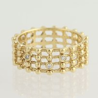 PANDORA Pandora Ring - Lattice Work 14k Yellow Gold Band 585 Diamonds 150105d