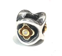 PANDORA PERFECT POSY YELLOW GOLD & STERLING SILVER CHARM WITH DIAMONDS