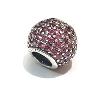 PANDORA PINK CRYSTALS BALL CHARM IN STERLING SILVER