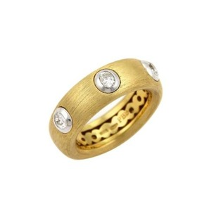 Pasquale Bruni Pasquale Bruni Diamonds 18k Two Tone Gold Textured Band Ring -size