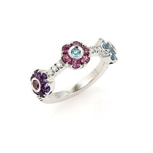 Pasquale Bruni Pasquale Bruni Diamonds Blue Topaz Tourmaline Floral 18k White Gold Ring