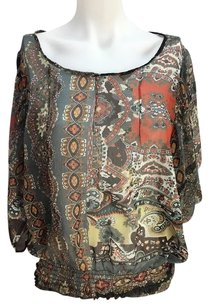 Passport Womens Floral Sheer Top Multi-Color